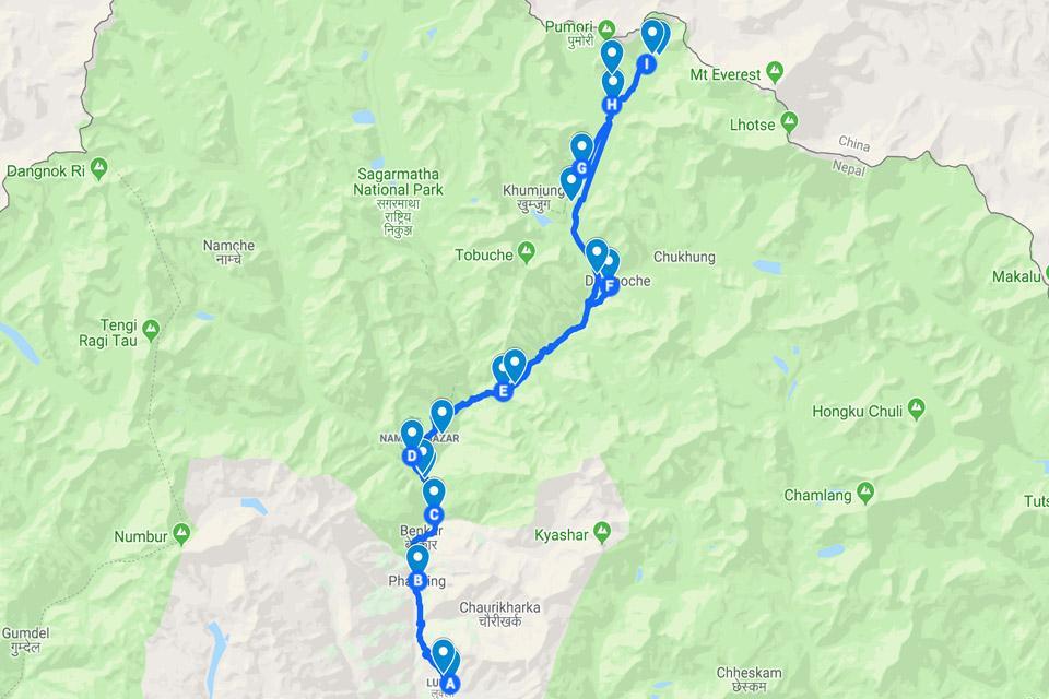 Everest Base Camp Trek Route on Google Maps